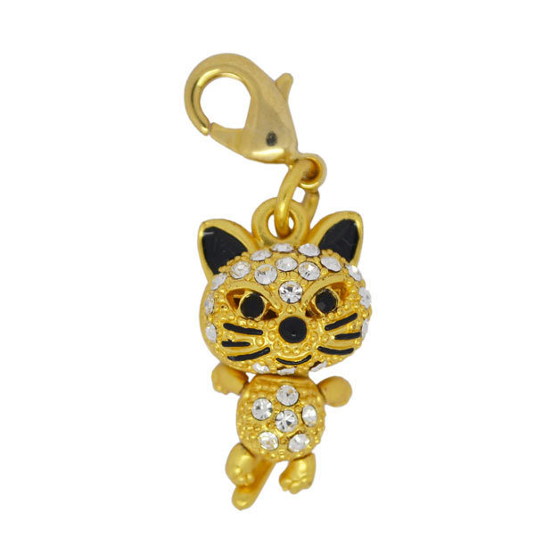 Cute 3D gold tiny tiger animal charms manufacturer (gold charms)
