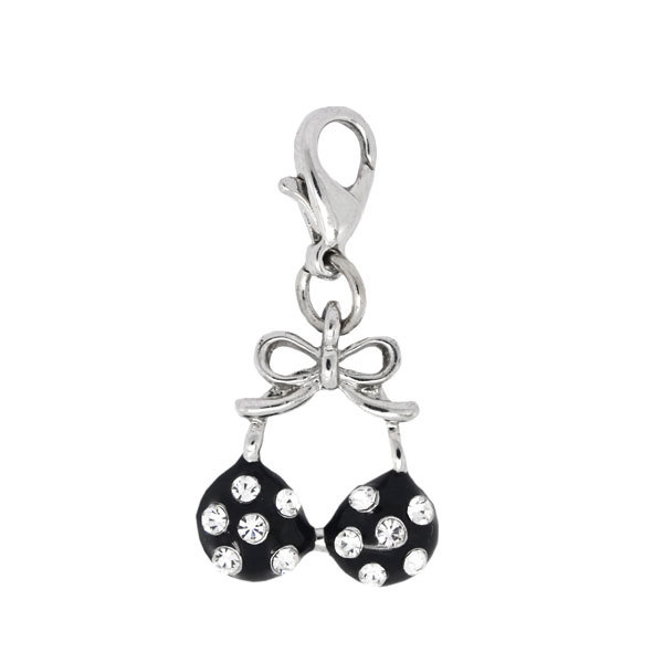 Fashion custom made crystal bikini top charm silver jewelry (silver charms)