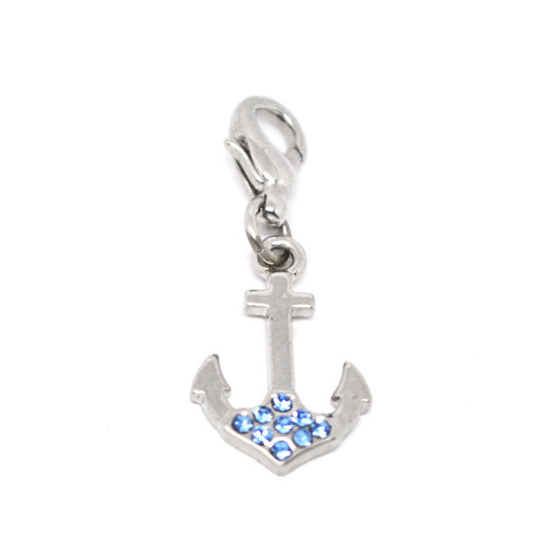 custom made silver plated rhinestone anchor nautical jewelry (nautical jewelry)
