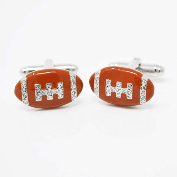 Custom sport themed enamel brown football cufflinks jewelry for men (cufflinks for men)