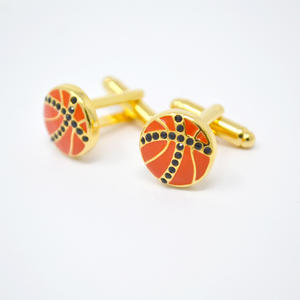 Wholesale mens cufflinks, Orange/Black Basketball Cufflinks for men suppliers
