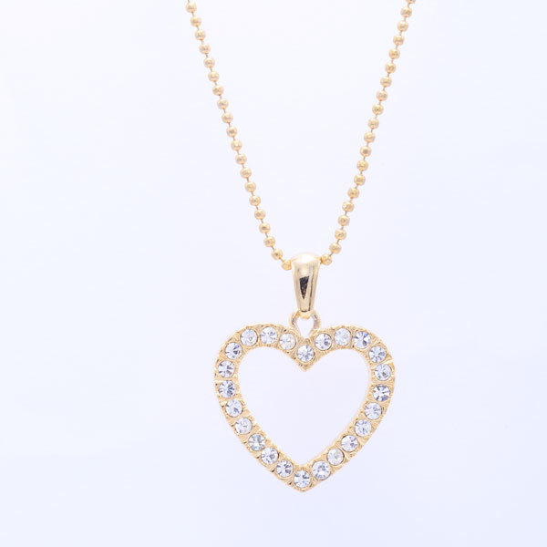 Custom Alloy Pave Hollow Heart Charm Necklace Jewellery (heart necklace)