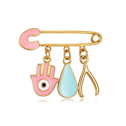 Evil Eyes Hamsa hand Lovely Enamle Gold safety Pins with cross Charms (enamel pins for sale)
