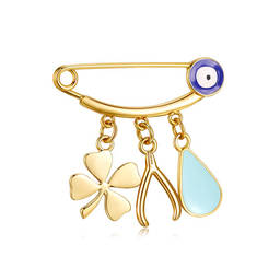Gold plated Lucky clover charms evil eye pins jewelry (enamel-pins-custom)