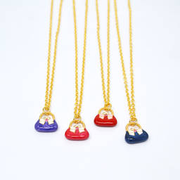 Factory handmade enamel mini bag pendant gold neckalce (pocket bag charm necklace)