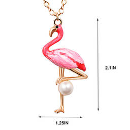 Hot selling cute pink flamingo bird necklace for girls (wholesale pendant necklaces)