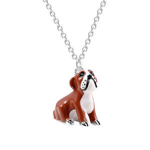 bulk necklaces wholesale,Silver 3D enamel cute bulldog charm necklace