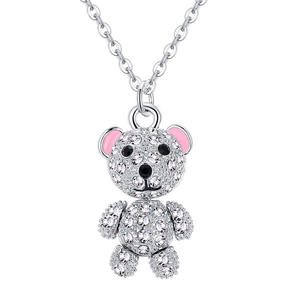 custom necklace pendants, Mini cute clear crystal bear gift for kids