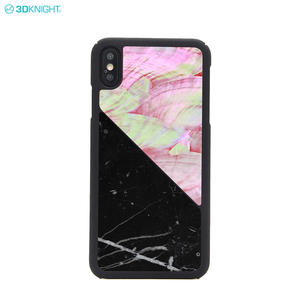 Custom Luxury Real Marble Seashell Hard Cover Phone Case For iPhone XS MAX