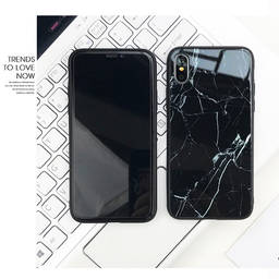 Custom IMD/IML TPU Hard Marble Tempered Glass Phone Case For Iphone X XR XS MAX
