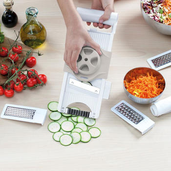 4 В 1 Регулируемая мандилина Slicer, Food Chopper Mandoline Slicer Grater Set itemprop =