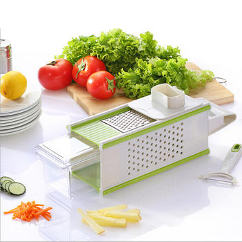 5 Em 1 Vegetable Slicer, Kitchen Veggies Grater com recipiente de armazenamento itemprop =