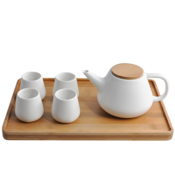 Teapot Keramik Set, Teko Porselin dengan 4 Tea Cups itemprop =