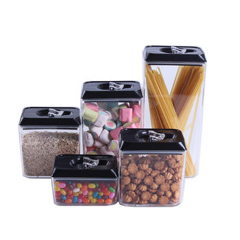5 Piece Hermético Acrílico Canister Set Food Storage Container itemprop =