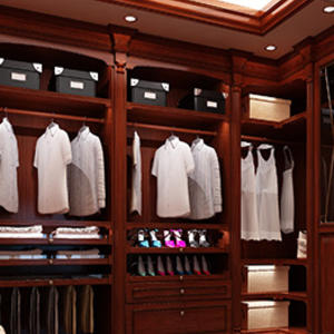 Custom wooden clothes wardrobe design