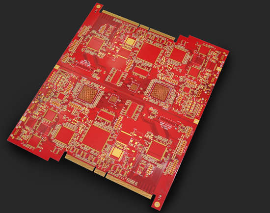 6L red 6-4mil min-hole 0.3mm FR4 gold-finger board