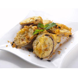 fried eggplant with meat stuffing