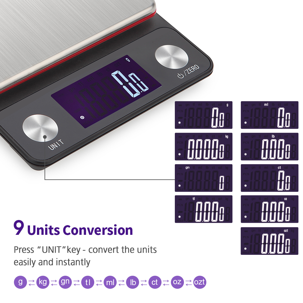 Stainless Steel Kitchen Scale Digital Balance Scale Electronic Kitchen Weighing Scale