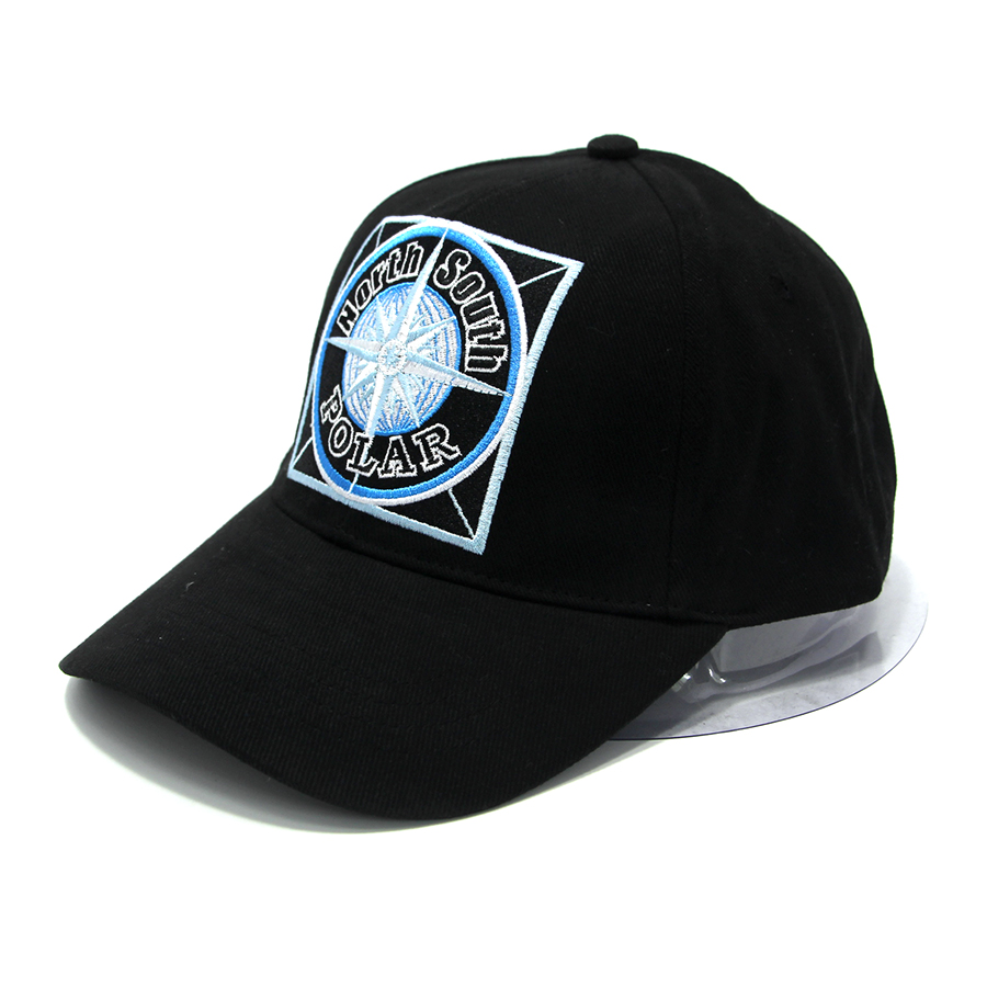 Custom Polar Embroidered Logo Black Baseball hats