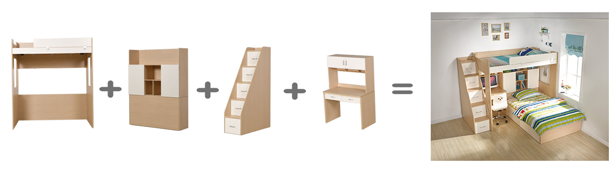 wooden children bunk bed