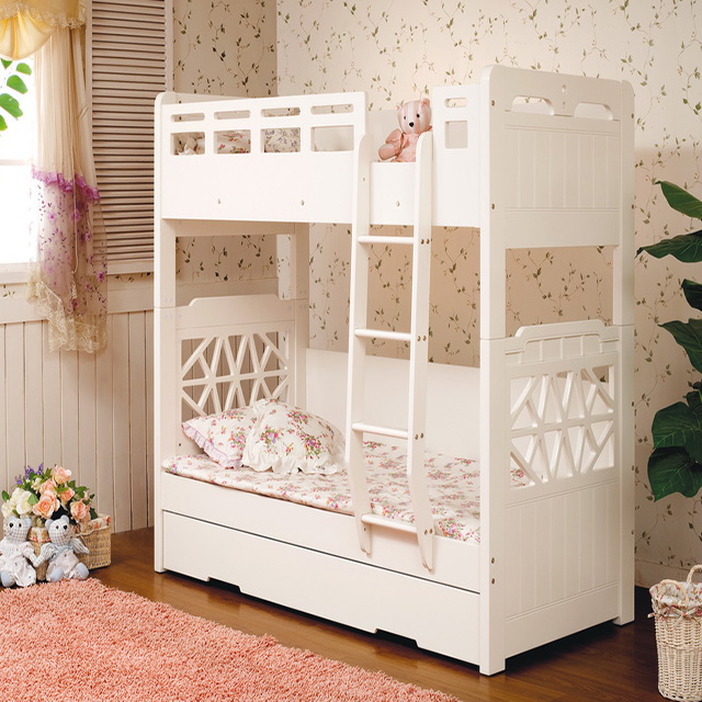 White Double Decker Kids Wooden Bed Children Use Bunk beds