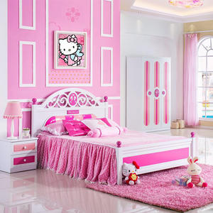 Hot Sale Children Bedroom Set Pink Wooden Bunk Bed Alibaba Supplier