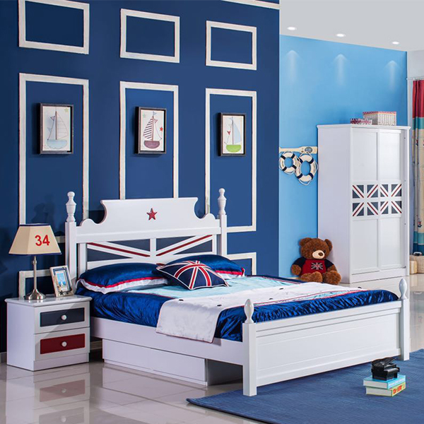 New Fashion Beech Wooden Bedroom Furniture Parts Children Bed Set For Home