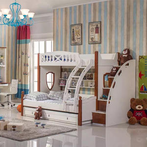 China Made Children Bedroom Sets Custom Color Wood Kids Bunk Bed Designs