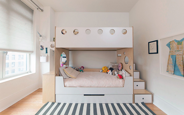 Add wooden children bed and desk