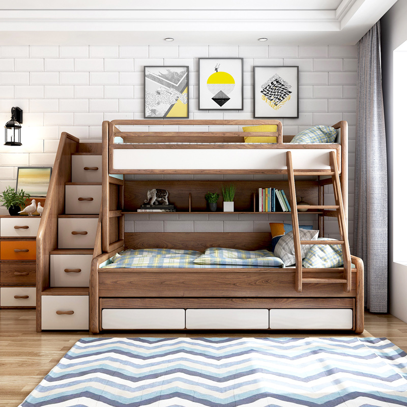 Triple Bunk Beds Modern Kids Solid Wood Bunk Bed