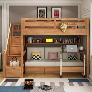 Luxury Bedroom Set Furniture Solid Wood Bunk Bed Fabric Cover Sofa Bunk Bed With Stairs