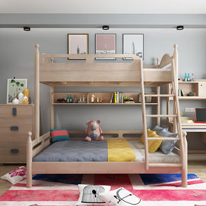 American Ash Solid Wood Kids Bed Bunk Bed With Bookshelf