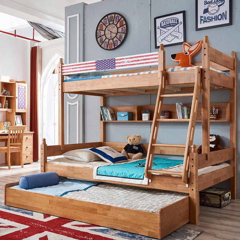 Solid Wood Triple Bunk Bed Oak Wood Bedroom Furniture Modern Kids Bunk Bed