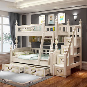 Princess Design Wooden Kids Bunk Bed With Pulling Bed Children Bedroom Furniture