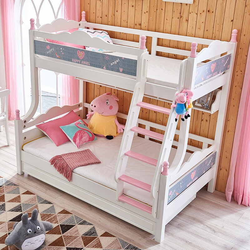 Kids Bedroom Furniture Set Solid Wood Frame Children Cartoon Bunk Bed With Pulling bed