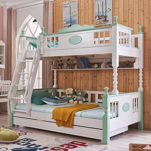 Modern Wooden Children Furniture 3 Tier Kids Bed Triple Bunk Bed For Child