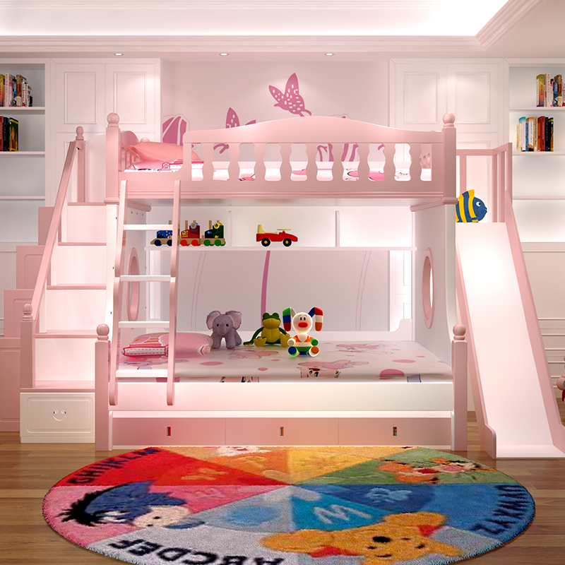 Top Quality Powder Coated Elegant Bunk Bed With Slide For Kids