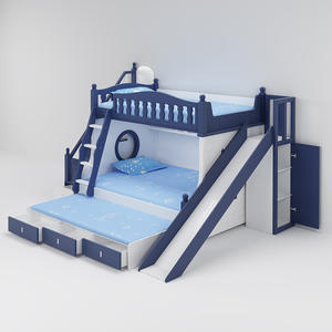 Hot Sale Kids Bunk Bed With Slide Bedroom Furniture Bed Set