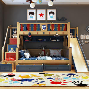 Children Bunk Bed With Slide Bedroom Furniture Bed Set
