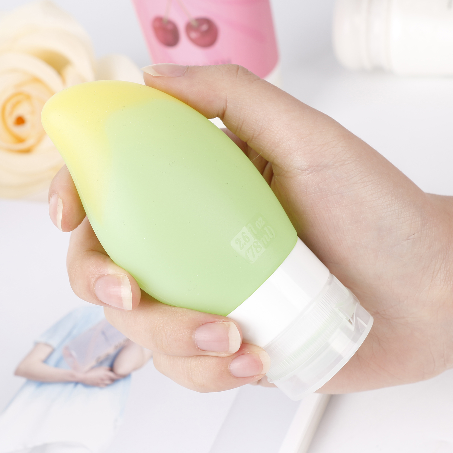 Wholesale custom shape silicone toiletry travel bottles