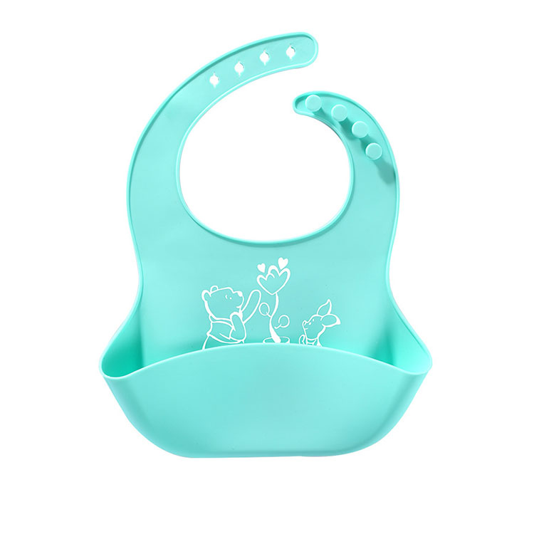 Foldable cute silicone bib with crumb catcher pocket