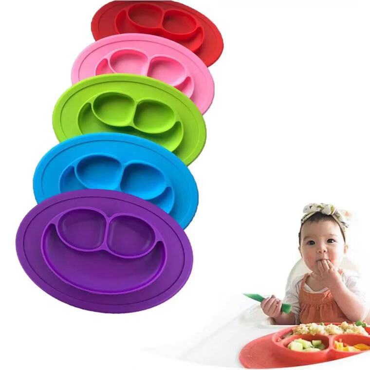 OEM unbreakable silicone divided plates spend less time cleaning after meals