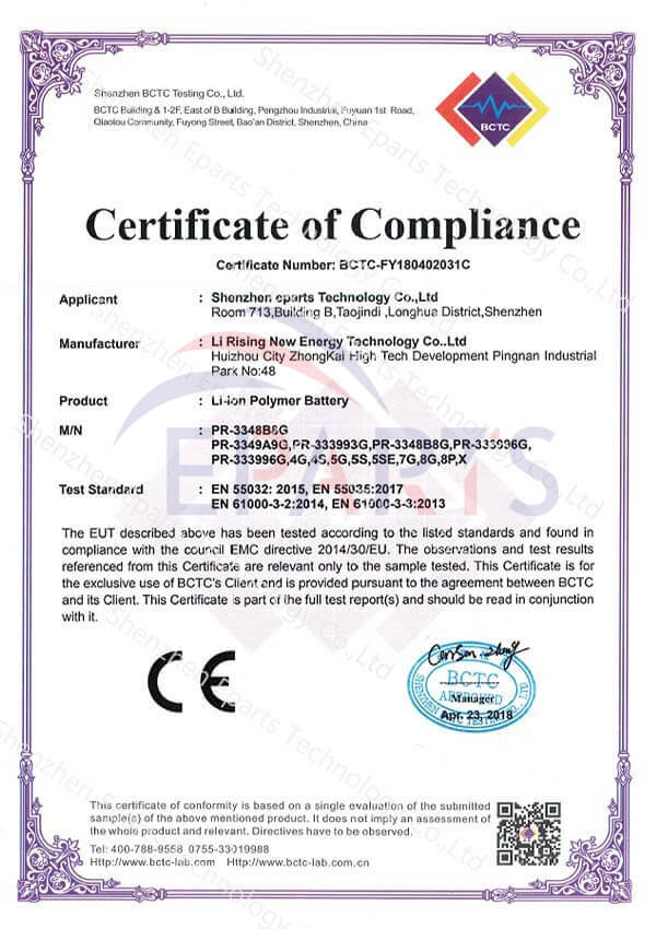 CE Certificate of Compliance
