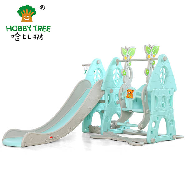 New Forest Theme Indoor Plastic Slide And Swing Set