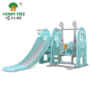 Children Castle Theme Indoor Plastic Slide And Swing Set