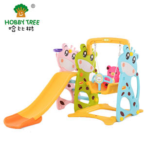 Deer Theme Kids Plastic Slide And Swing