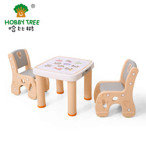 Number Theme Plastic Children Learning Table And Chair Set For Family Use