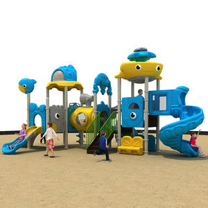 Sea Theme Kids Outdoor Equipment Three Slide Playground HS18117W-O