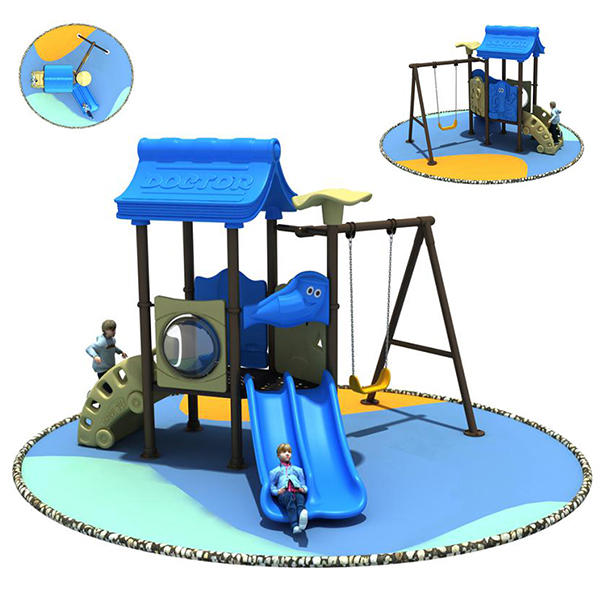 Small Outdoor Playground Slide and Swing for Preschool