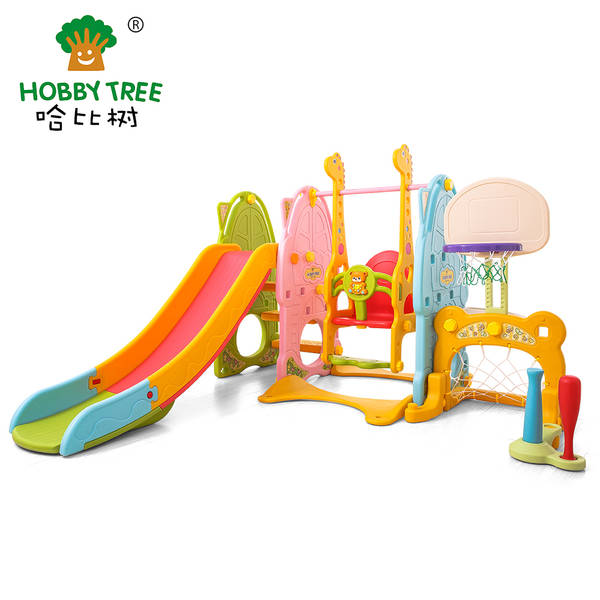 Plastic strong safe classic indoor slide and swing set for baby